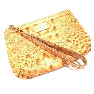 BRAHMIN Melbourne tan faux croc clutch/wristlet